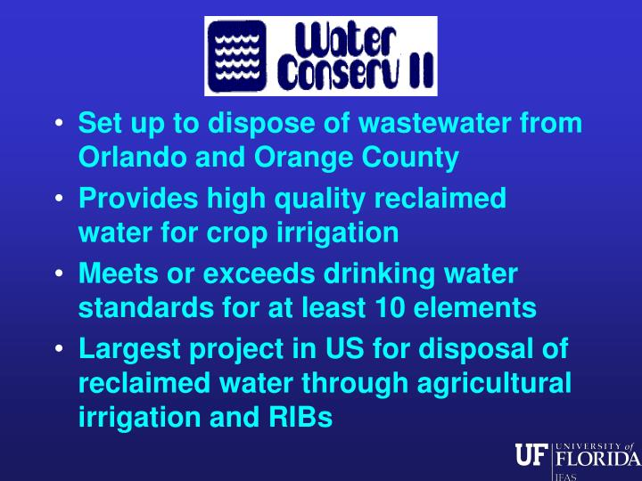 Set up to dispose of wastewater from Orlando and Orange County
