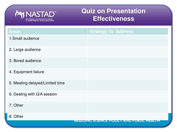 Quiz on Presentation Effectiveness