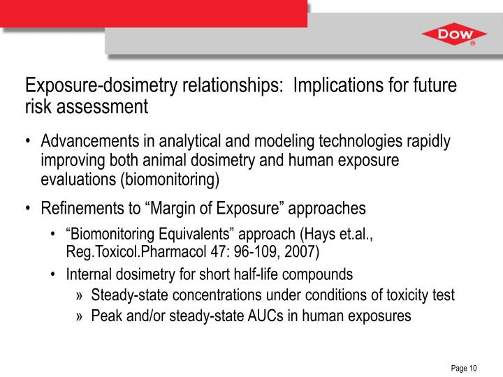 Exposure-dosimetry relationships:  Implications for future risk assessment