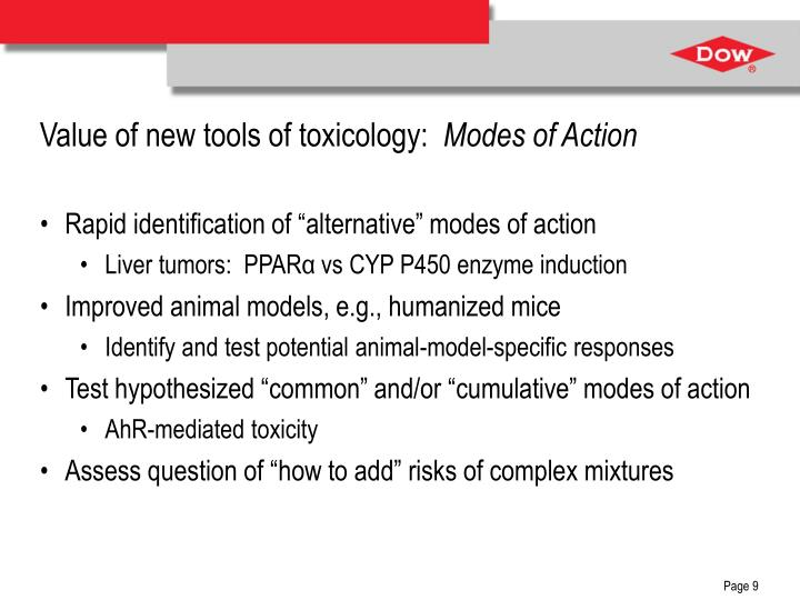 Value of new tools of toxicology: