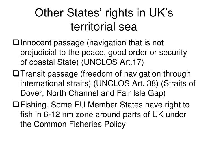 Other States' rights in UK's territorial sea