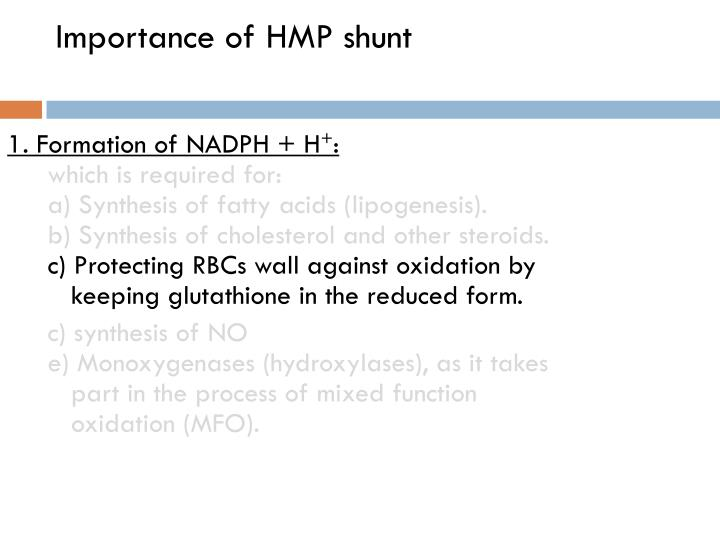 Importance of HMP shunt