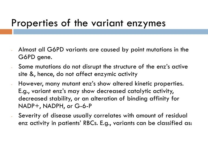 Properties of the variant enzymes
