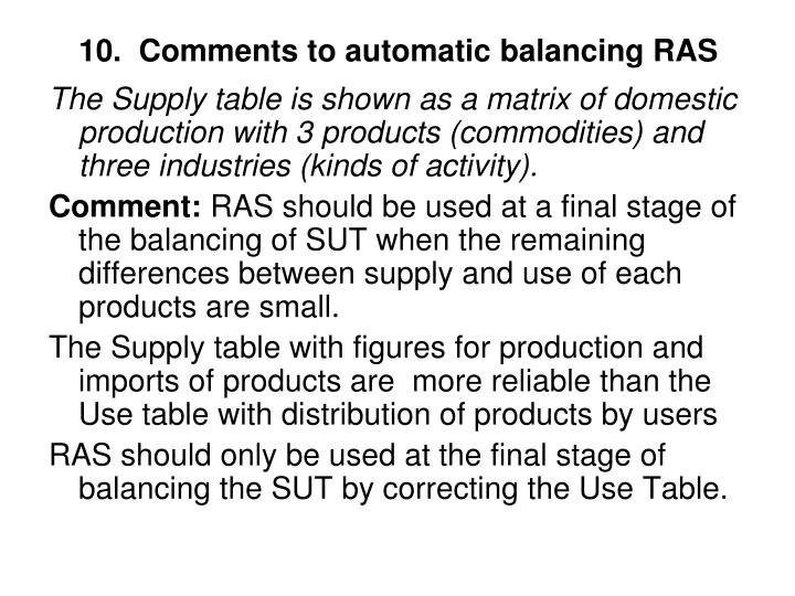 10.  Comments to automatic balancing RAS