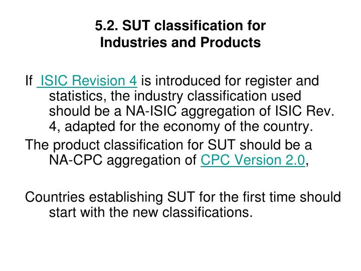 5.2. SUT classification for