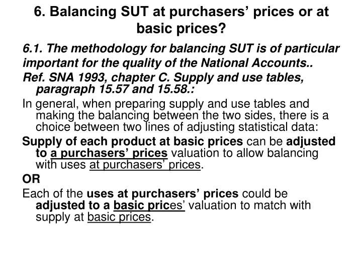 6. Balancing SUT at purchasers' prices or at basic prices?
