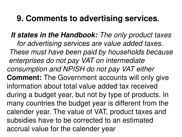 9. Comments to advertising services