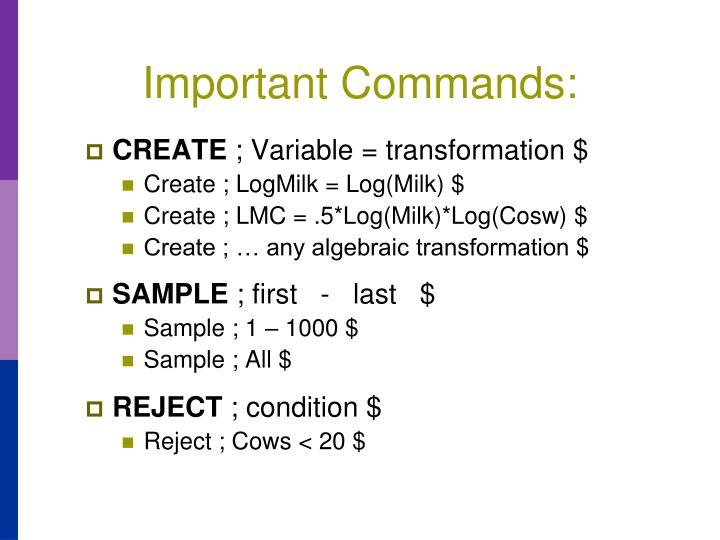 Important Commands: