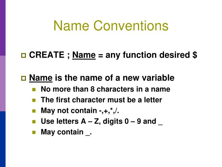 Name Conventions