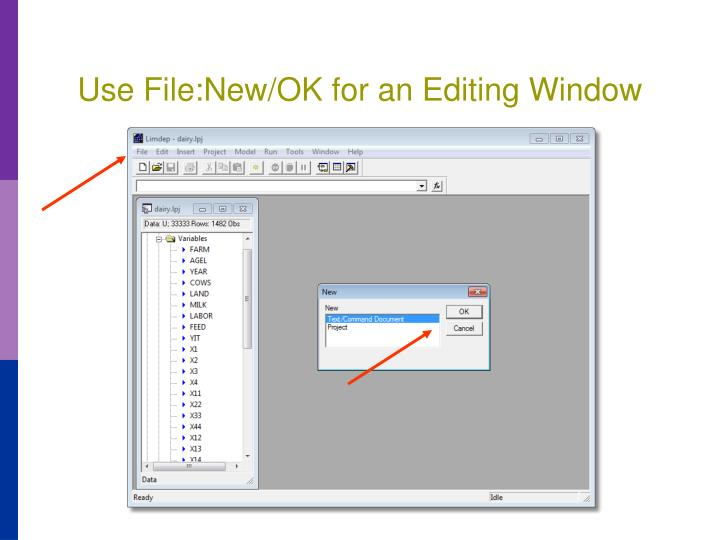 Use File:New/OK for an Editing Window