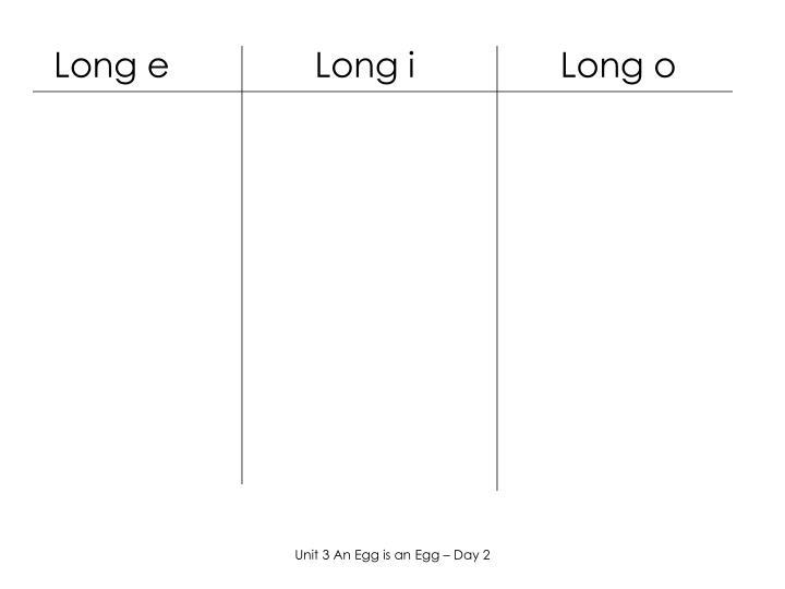 Long e               Long i               Long o