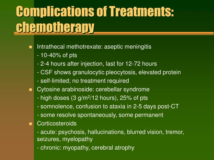 Complications of Treatments: chemotherapy