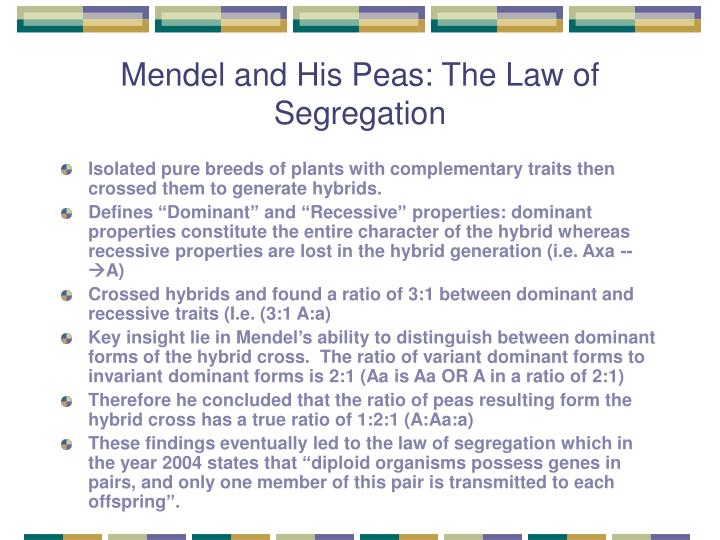 Mendel and His Peas: The Law of Segregation