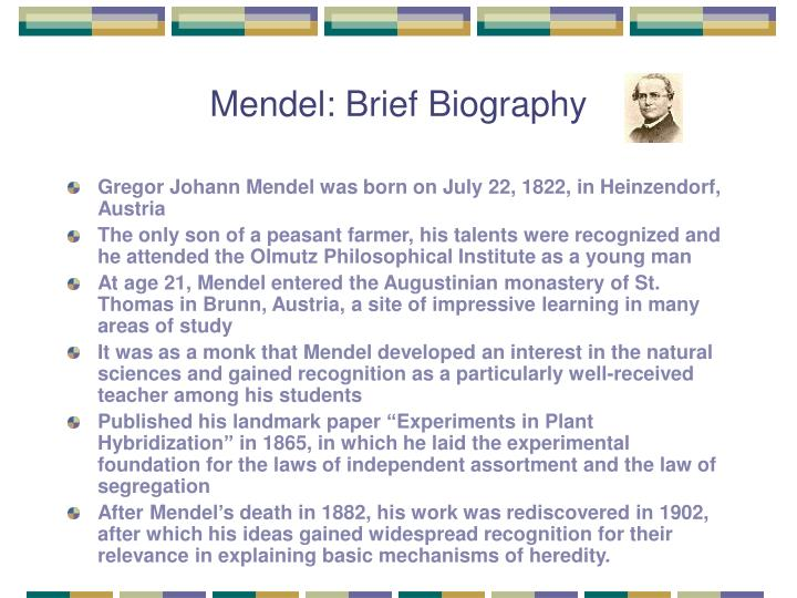 Mendel: Brief Biography