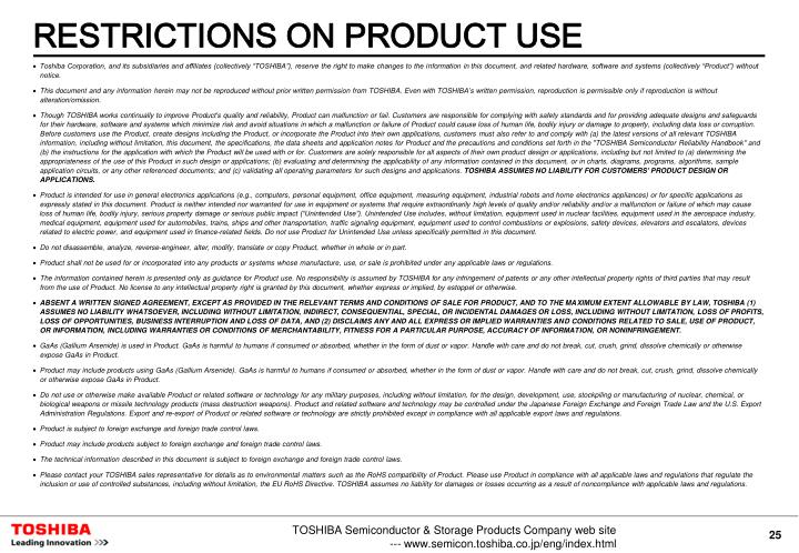RESTRICTIONS ON PRODUCT USE