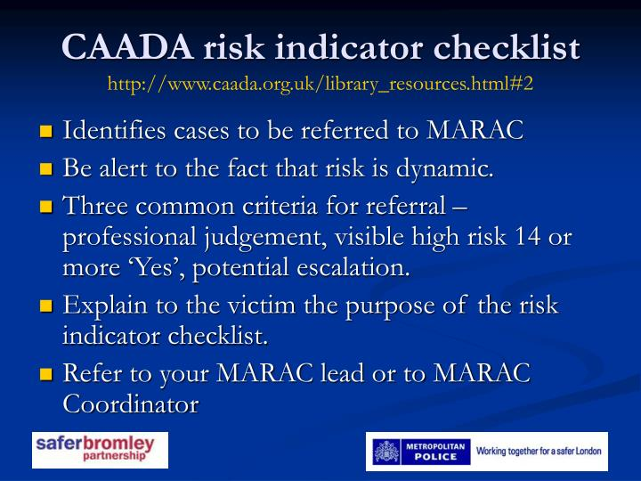 CAADA risk indicator checklist
