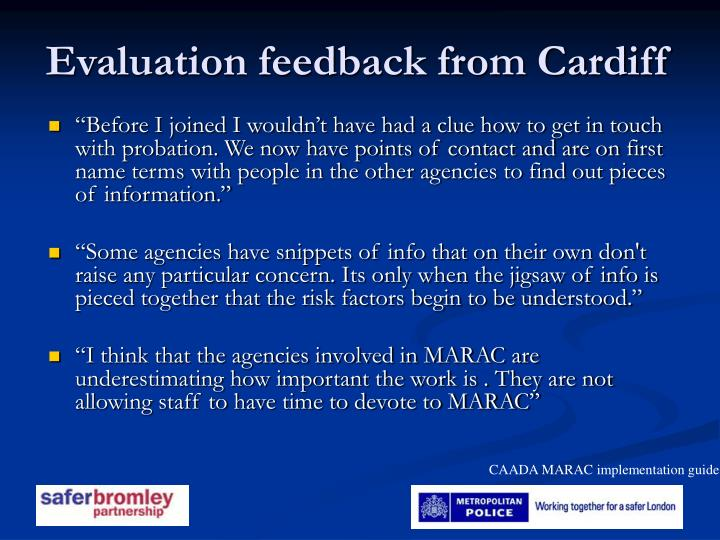 Evaluation feedback from Cardiff