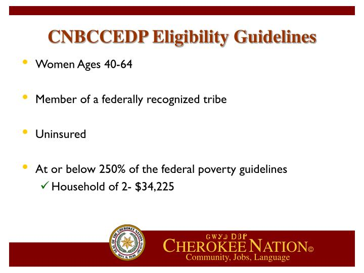 CNBCCEDP Eligibility Guidelines