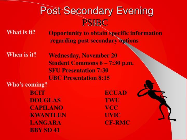Post Secondary Evening