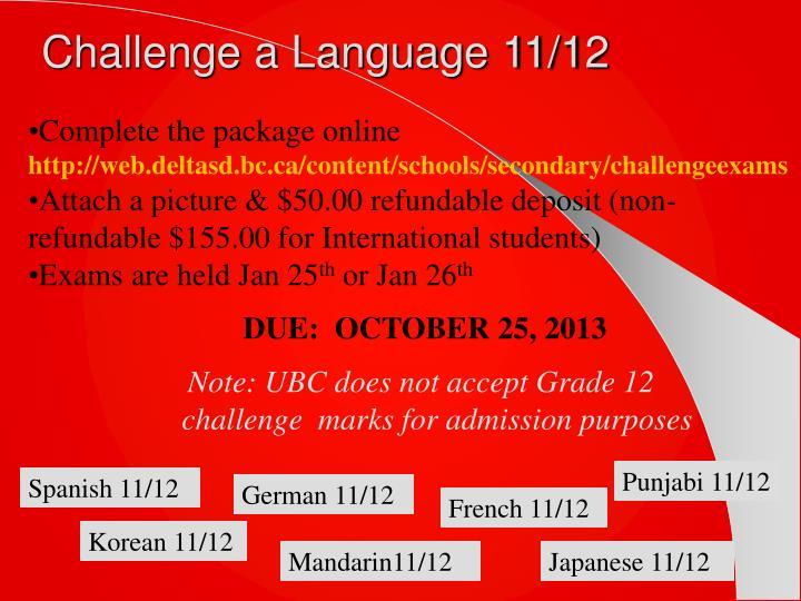 Challenge a Language 11/12