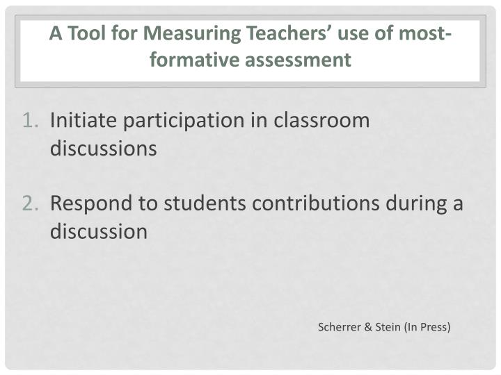 A Tool for Measuring Teachers