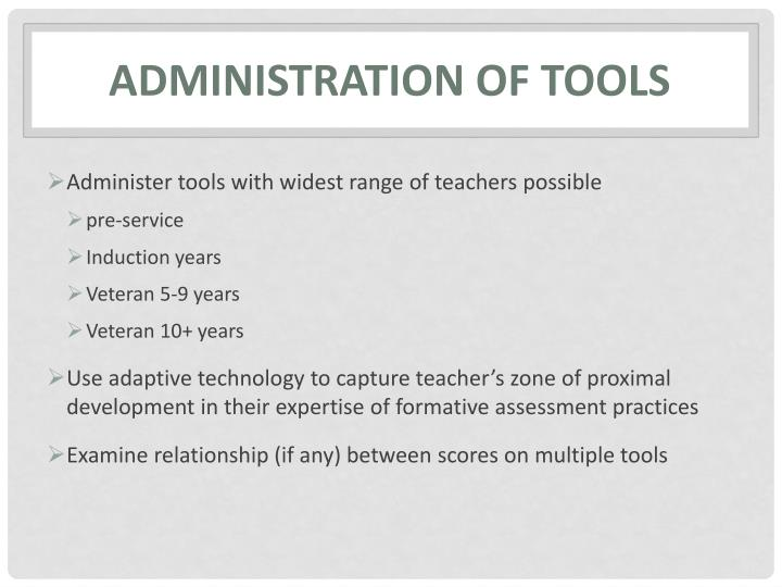 Administration of tools