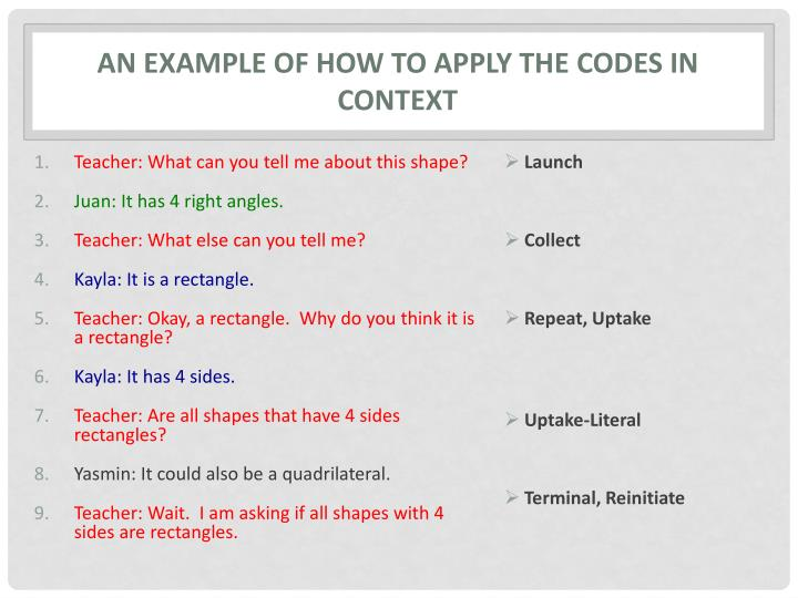 An Example of How to Apply the Codes in Context