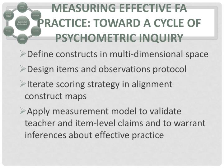 Measuring Effective FA practice: Toward a cycle of psychometric inquiry