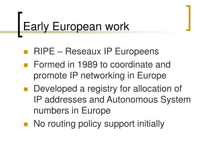 Early European work
