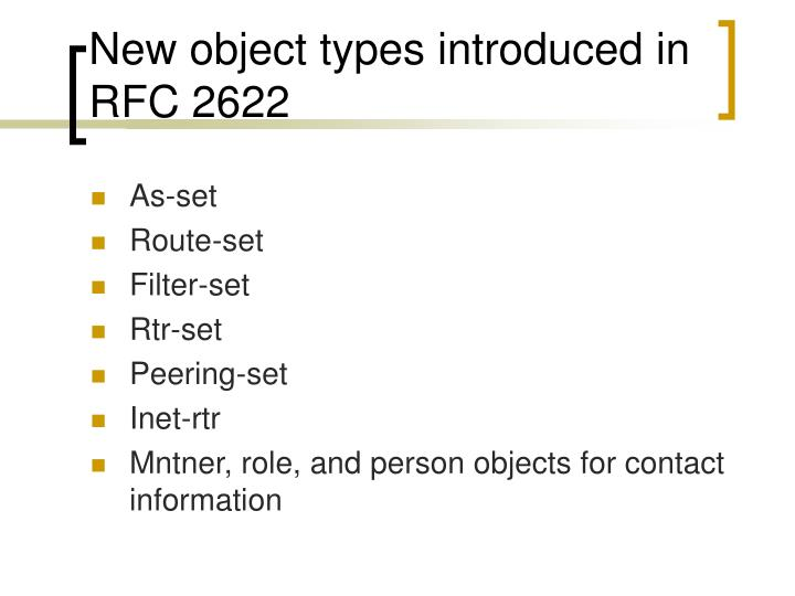 New object types introduced in RFC 2622