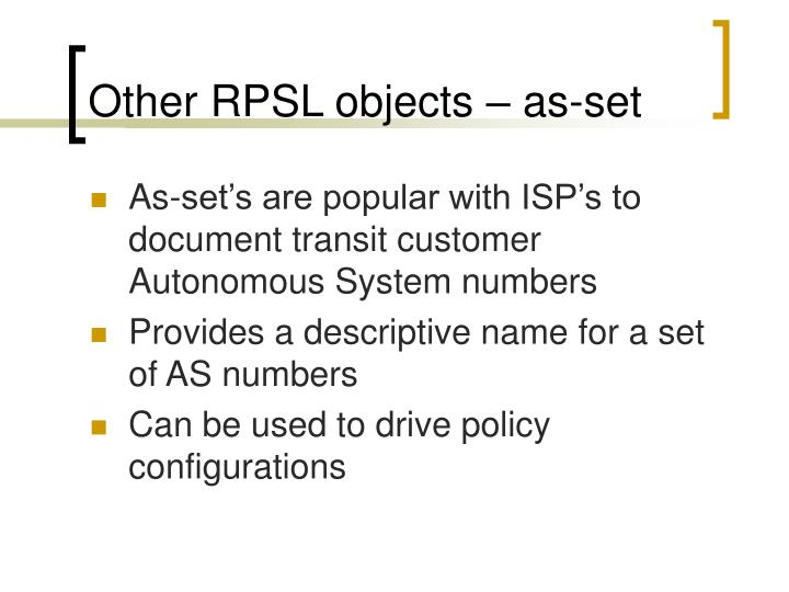 Other RPSL objects – as-set