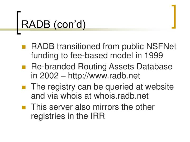 RADB (con'd)