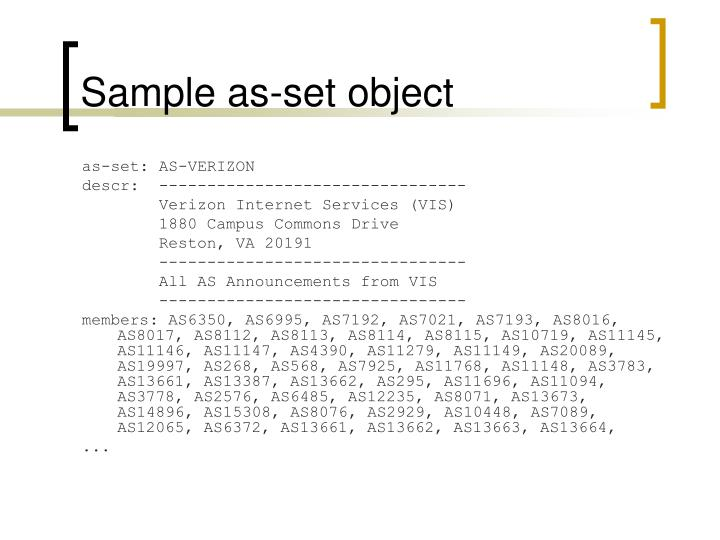 Sample as-set object