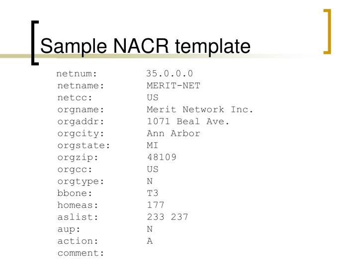 Sample NACR template
