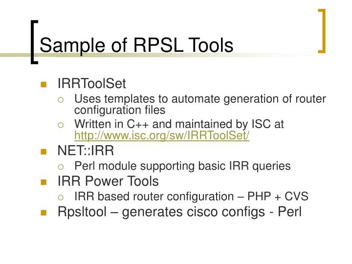 Sample of RPSL Tools