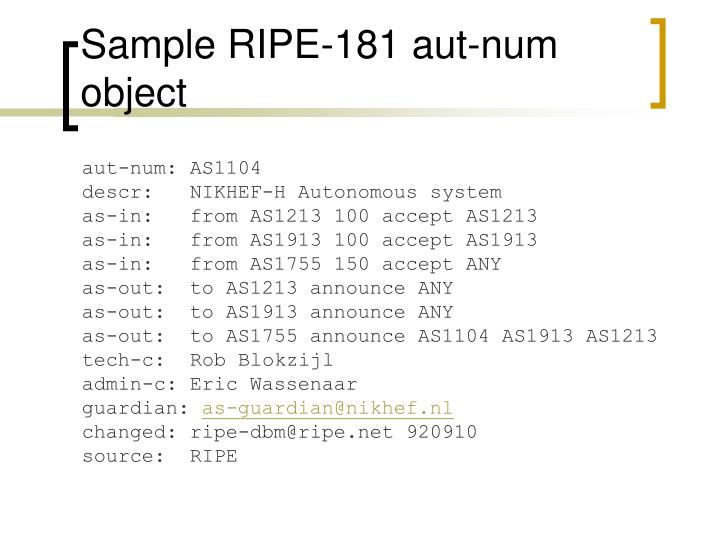 Sample RIPE-181 aut-num object