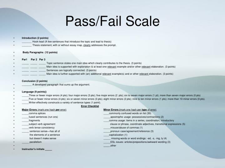 Pass/Fail Scale
