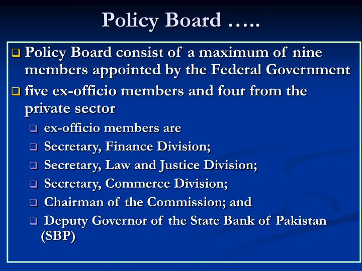 Policy Board …..