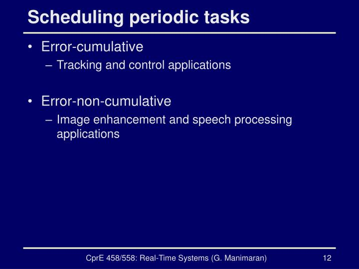 Scheduling periodic tasks