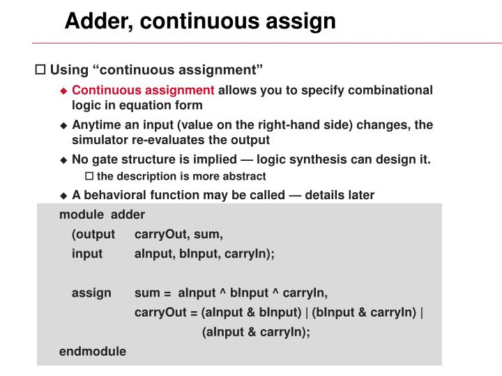 Adder, continuous assign