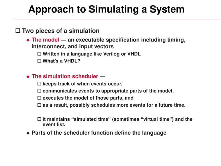 Approach to Simulating a System