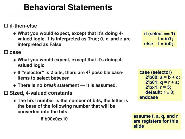 Behavioral Statements
