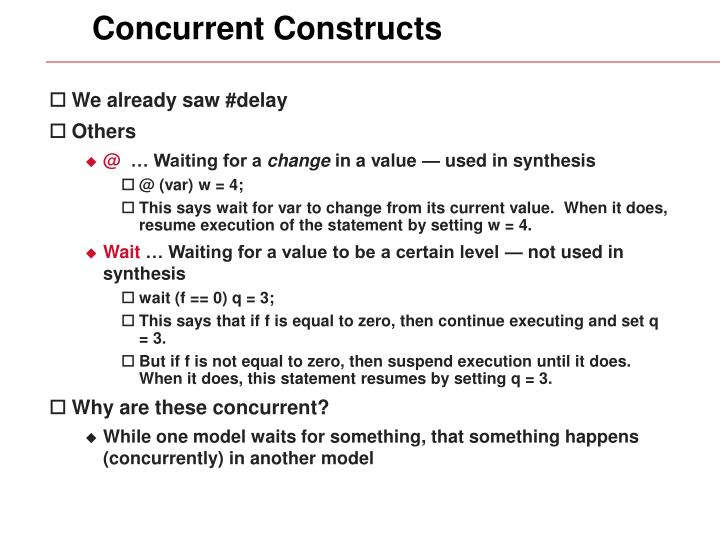 Concurrent Constructs