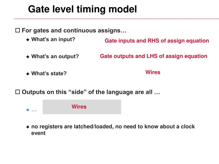Gate level timing model