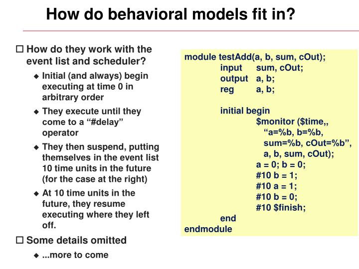 How do behavioral models fit in?