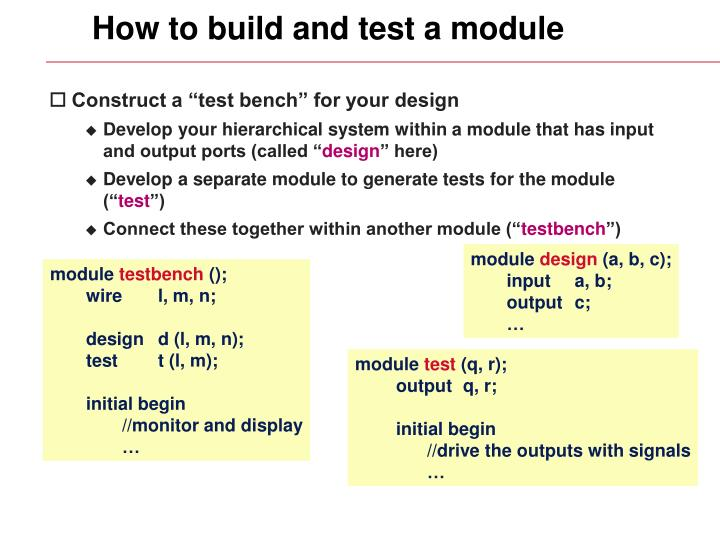 How to build and test a module