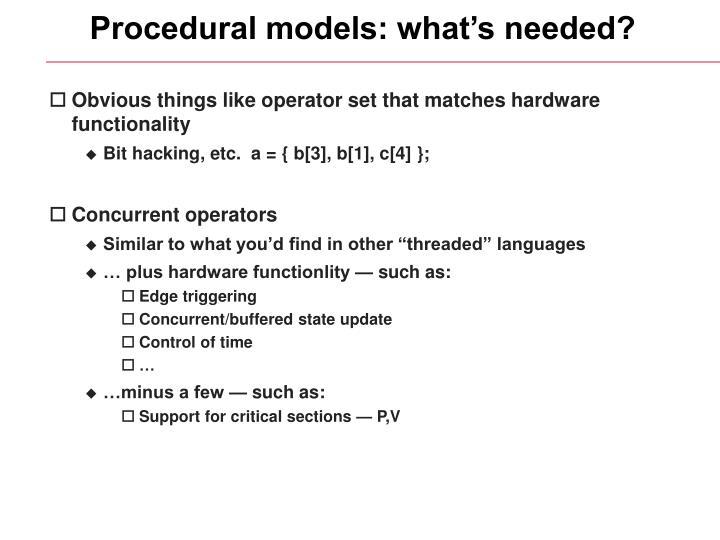 Procedural models: what's needed?