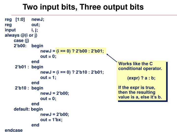 Two input bits, Three output bits