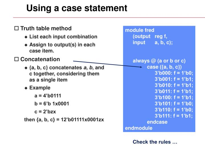 Using a case statement