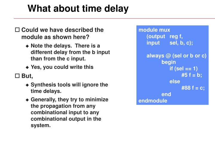 What about time delay
